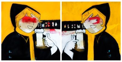 Beastie Girls (2010), Diptych 40 x 40cm, Mixed media on canvas