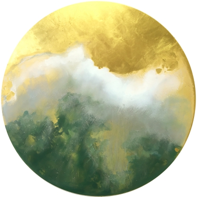 "Breathing Trees, oil with 23k gold on panel, 24"" diameter."